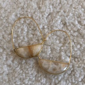Anthropologie Drop Earring w/ Ivory Natural Stone